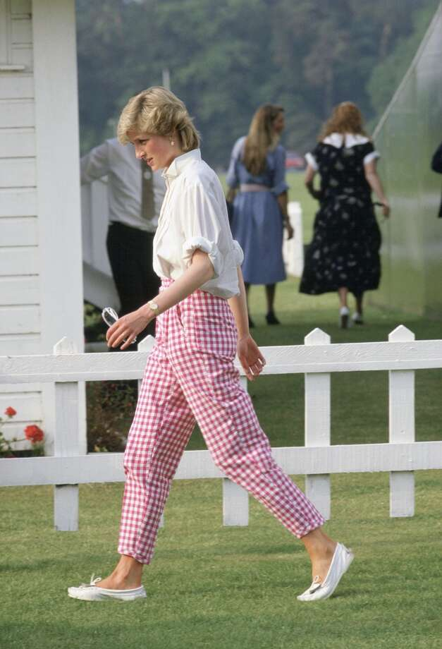 Princess Diana wearing pink gingham trousers at Guards Polo Club In Windsor. Photo: Tim Graham, Tim Graham/Getty Images