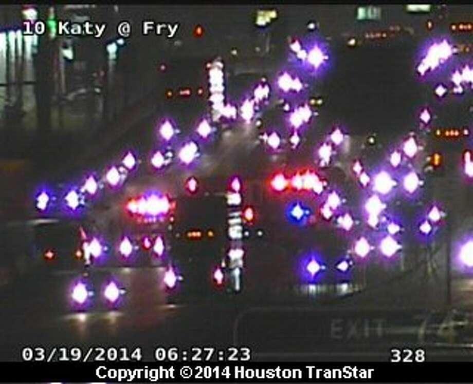 The inbound Katy Freeway was shutdown near Westgreen after a crash about 6:15 a.m. Wednesday Photo: Houston TranStar