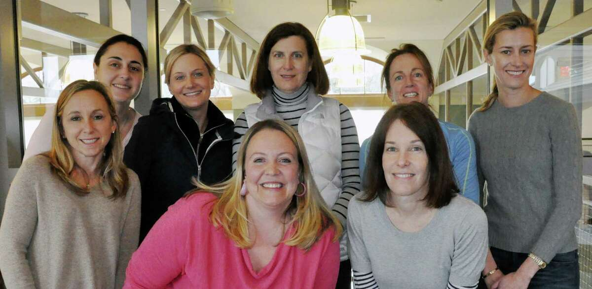 The committee members for the upcoming Darien Library gala are, in back row from left, Millyn Gasserud, Kristin Calve, Anne Holmes, Susan Massey, Kate Lyons and Jessica Blouin. Front row, Nicole Lyons and Kerrie Kelley.