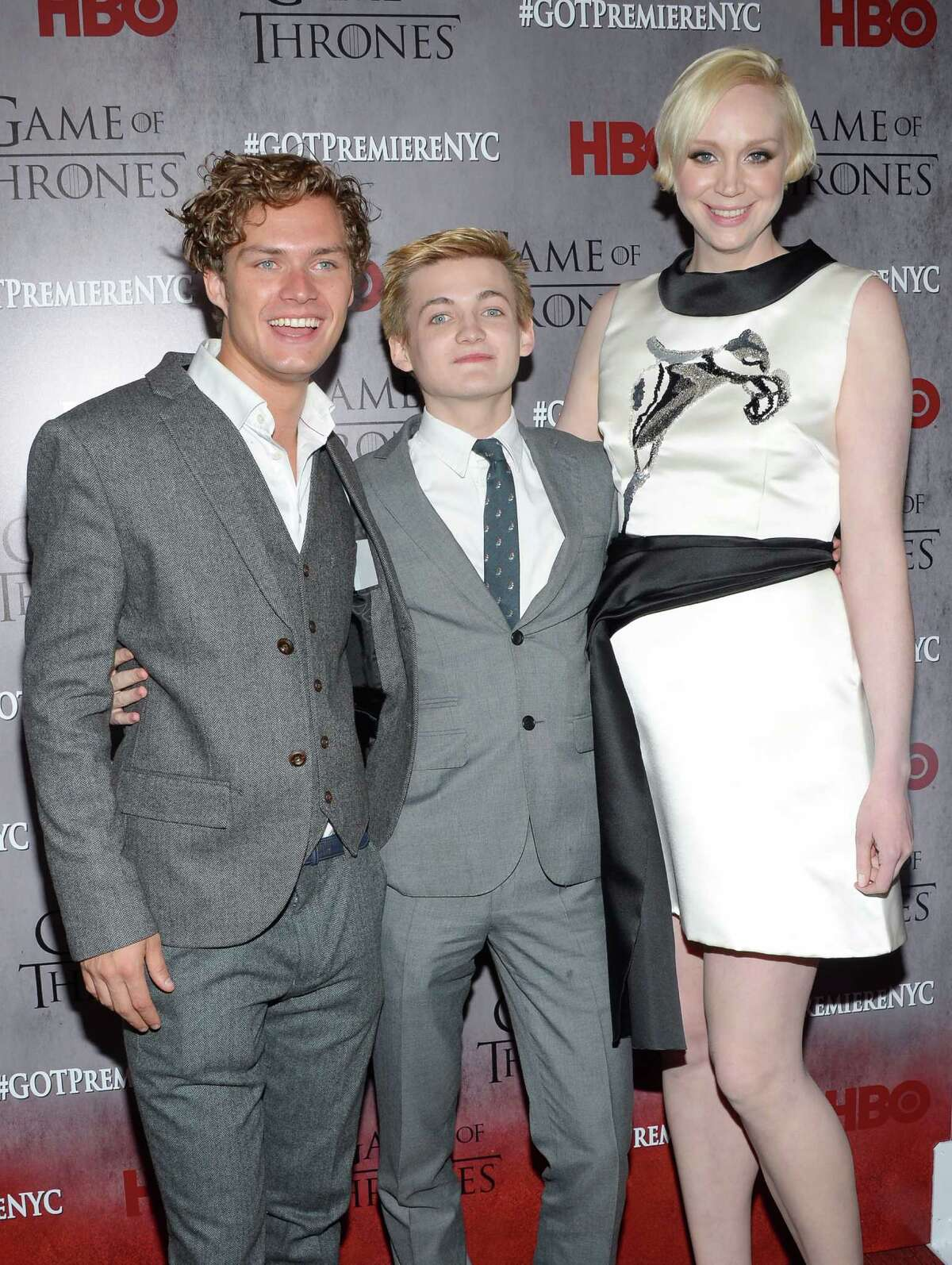 Cast members Finn Jones, left, Jack Gleeson and Gwendoline Christie attend HBO's