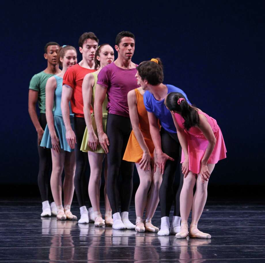 "Joffrey Ballet's program Friday includes Jerome Robbins' ""Interplay"" with, from front, Christine Rocas, Alberto Valazquez, Cara Marie Gary, Lucas Segovia, Kara Zimmerman, John Mark Giragosian, Amber Neumann and Ricardo Santos. Photo: Herbert Migdoll / ONLINE_YES"