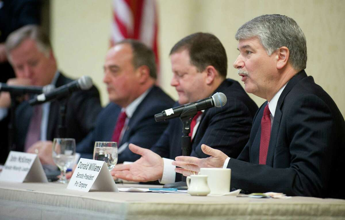 Senate President Pro Tempore Donald Williams speaks during the Business Council of Fairfield County's Legislative Leadership Breakfast at the Sheraton in Stamford, Conn., on Wednesday, March 19, 2014.