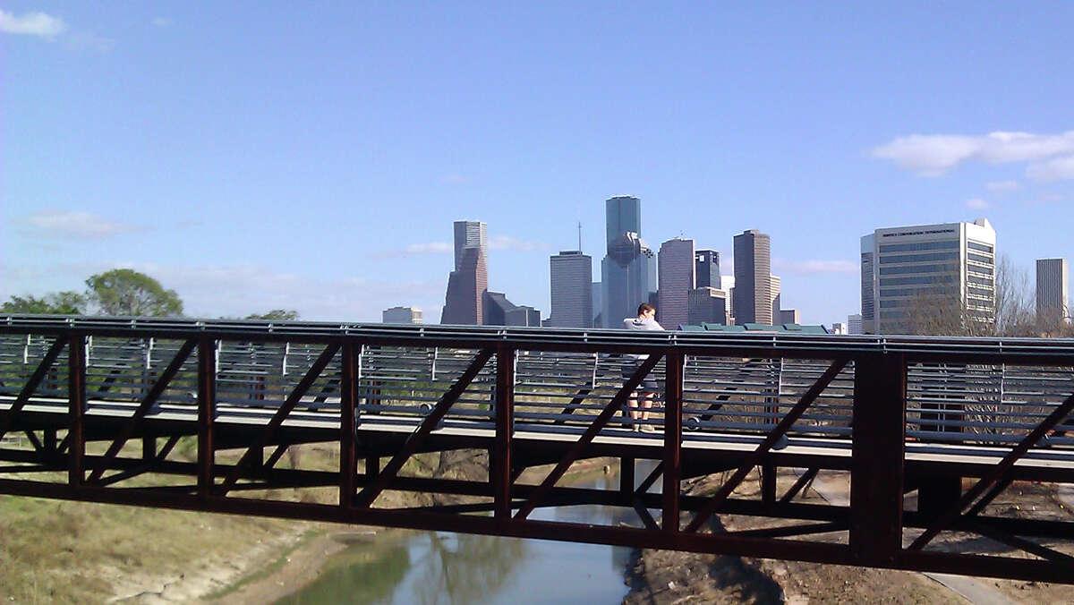 Pedestrian bridges are among the improvements to Buffalo Bayou Park.