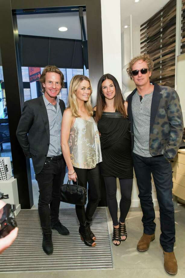 David Schulte, Amanda Hearst, Sabrina Buell and Yves Behar at the opening celebration for the new Oliver Peoples San Francisco boutique on March 13, 2014. Photo: Drew Altizer, Drew Altizer Photography / Drew Altizer Photography