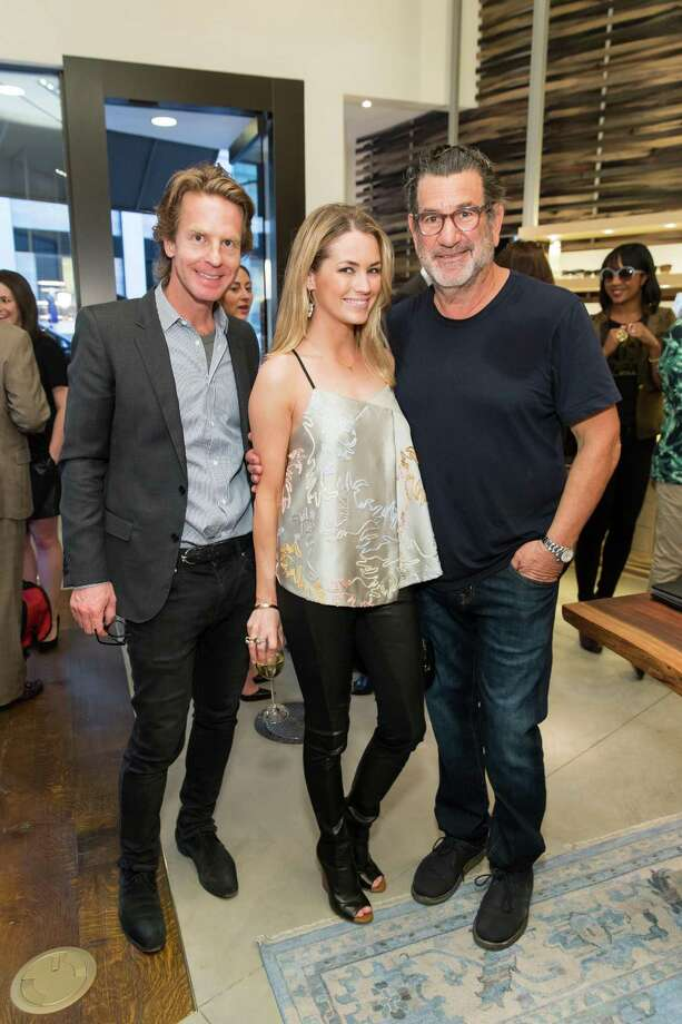 David Schulte, Amanda Hearst and Larry Leight at the opening celebration for the new Oliver Peoples San Francisco boutique on March 13, 2014. Photo: Drew Altizer, Drew Altizer Photography / Drew Altizer Photography