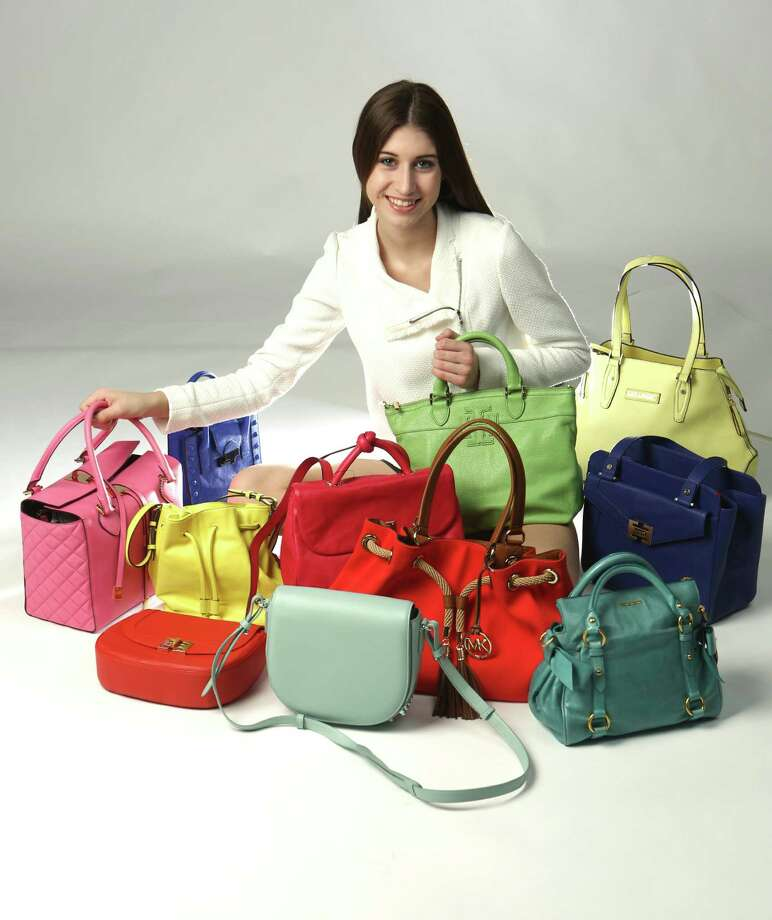 First row, left to right: Tomato-colored cross body bag, $328, Elaine Turner; Alexander Wang willow green crossbody bag, $795, Neiman Marcus; Michael Kors, mandarin colored canvas tote with rope tassels, $248, Dillard's North Star Mall; Miu Miu pastel green with side bows mini cross body bag, $1,250, Saks Fifth Avenue.  Second row, left to right: Michael Kors bubblegum pink handbag with padded side panels and tie straps, $1.095, Saks Fifth Avenue; Elizabeth & James, chartreuse crossbody/bucket bag, $445,  Neiman Marcus; Marc by Marc Jacobs raspberry backpack, $498, Neiman Marcus; Cobalt blue washed leather open satchel, $498, Elaine Turner.  Third row, left to right: Loeffler Randall cobalt blue mini crossbody bag, $295, Julian Gold; Tory Burch pistachio small satchel, $450, Neiman Marcus (held by model); Kate Landry, chartruese tote, $79, Dillard's North Star Mall. Photo: Helen L. Montoya, San Antonio Express-News / ©2013 San Antonio Express-News
