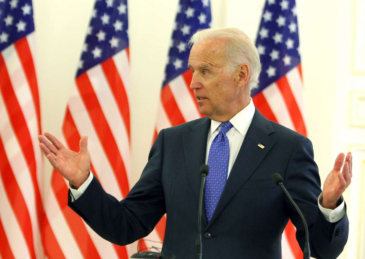 US Vice President Joe Biden attends a press conference after a meeting in Vilnius on March 19, 2014. Biden meets today with Lithuanian and Latvian leaders as part of a tour to reassure NATO allies during the Ukraine crisis. AFP PHOTO / PETRAS MALUKASPETRAS MALUKAS/AFP/Getty Images