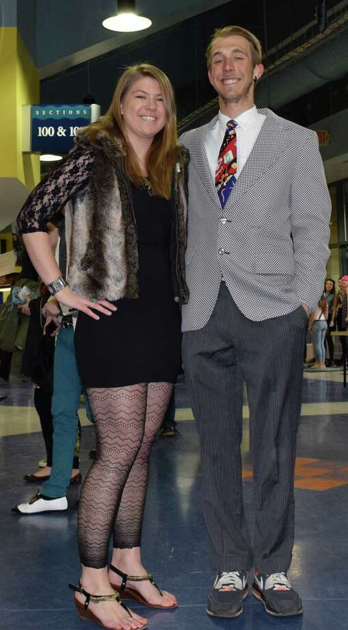 Andy Beauchemin and Katy Price, 25, of Newport, R.I. showed off their fashions at the Arcade Fire concert at Webster Bank Arena in Bridgeport on Tuesday, March 18. Photo: Todd Tracy, Contributed Photo / Connecticut Post Contributed