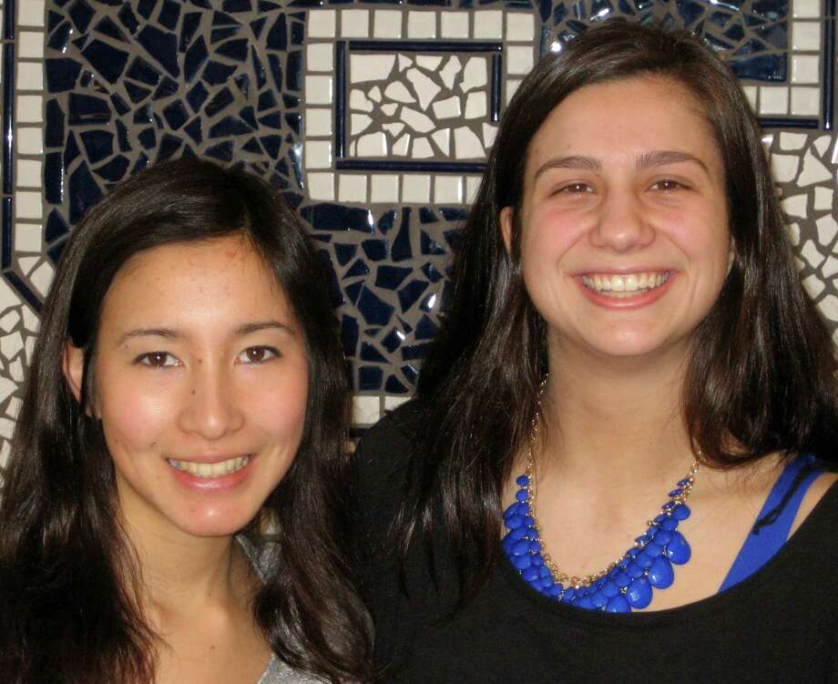 Eliza Llewellyn, left, has been named valedictorian and Melissa Beretta the salutatorian of the Staples High School Class of 2014. Photo: Contributed Photo / Westport News