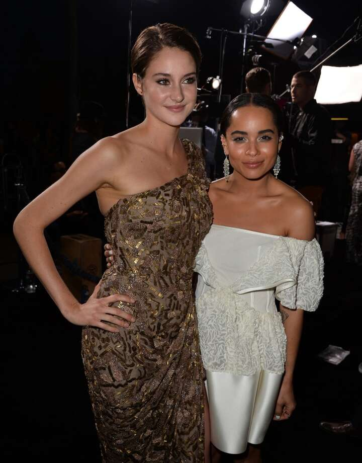 "Actresses Shailene Woodley (L) and Zoe Kravitz arrive at the premiere of Summit Entertainment's ""Divergent"" at the Regency Bruin Theatre on March 18, 2014 in Los Angeles, California. Photo: Kevin Winter, Getty Images"