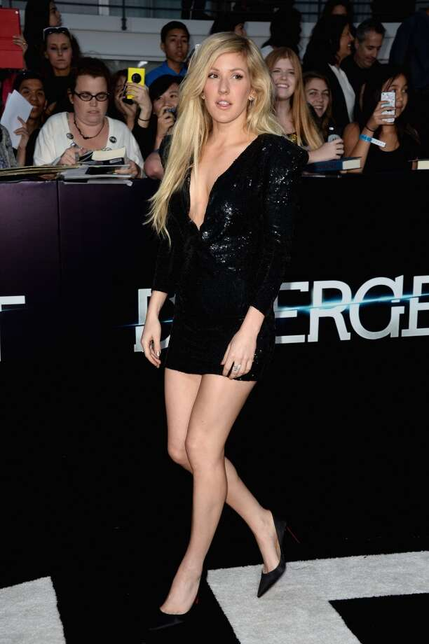 "Singer Ellie Goulding arrives at the premiere of Summit Entertainment's ""Divergent"" at the Regency Bruin Theatre on March 18, 2014 in Los Angeles, California. Photo: Frazer Harrison, Getty Images"