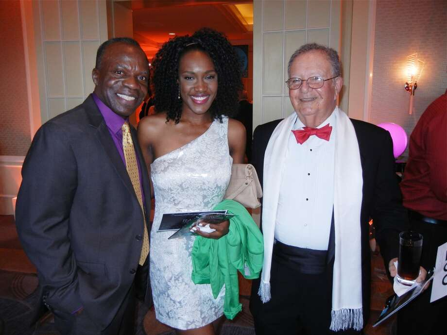 Cal Shakes resident artist L. Peter Callendar (left) with Emilia Romain and Stanley Schiffman at the Cal Shakes Gala. Photo: Catherine Bigelow