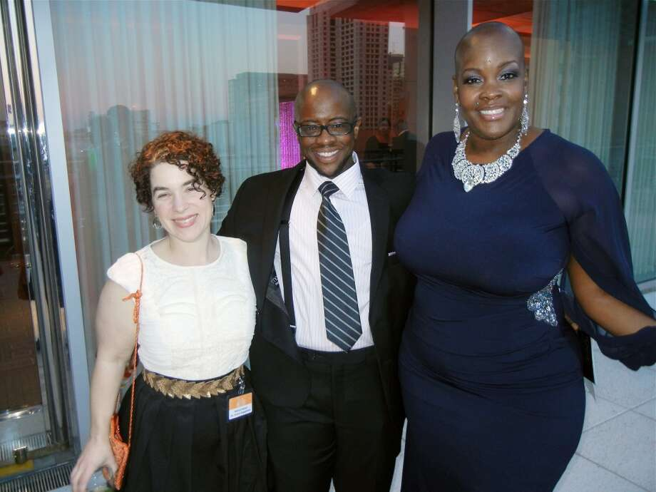 Cal Shakes Director of Artistic Engagement Rebecca Novick (at left) with Shawn Demmons and Cal Shakes' Community Participation Coordinator Sonya Renee Taylor at the Cal Shakes Gala. Photo: Catherine Bigelow