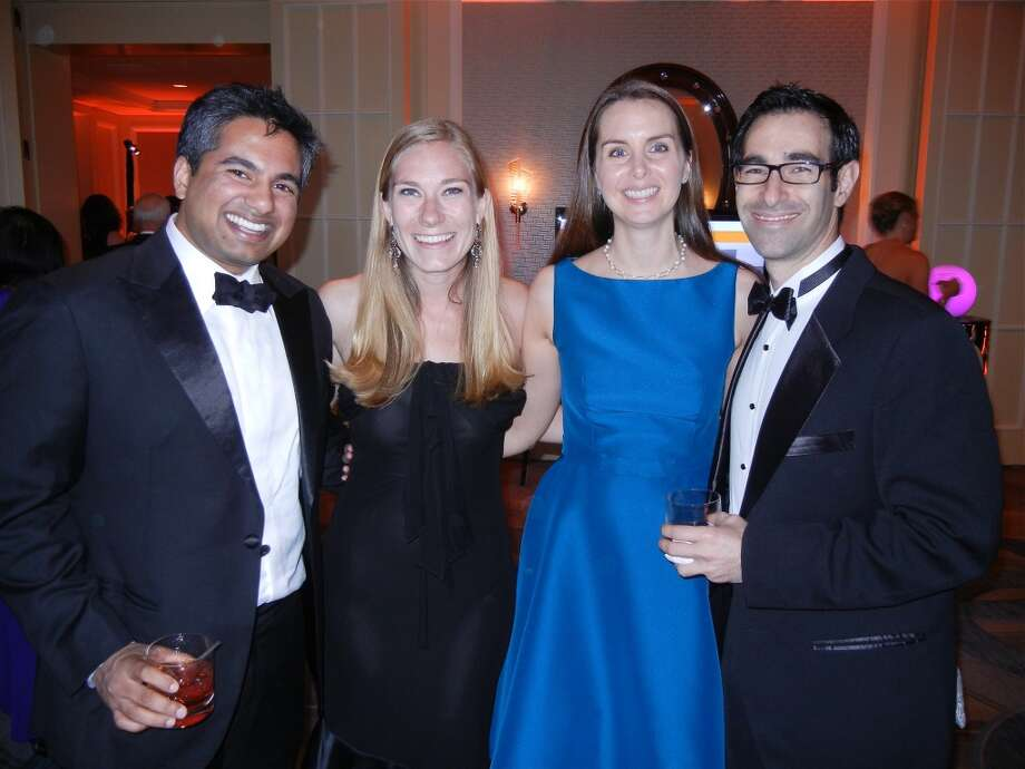 Ahin Thomas and his wife, Jenn Wilcox-Thomas (at left) with Kelly Westphalen and David Gold at the Cal Shakes Gala. Photo: Catherine Bigelow