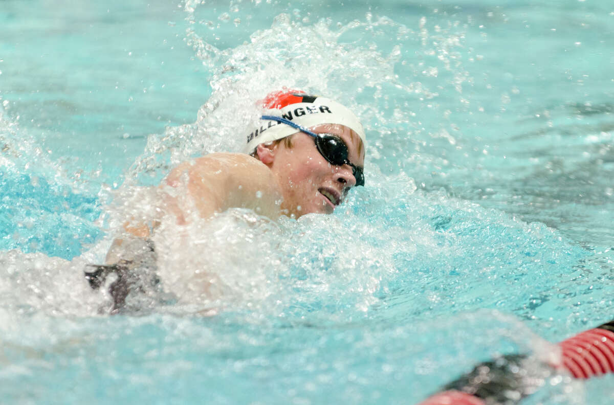 Greenwich's Thomas Dillinger competes in the 500 freestyle event during the Class LL Boys Swimming championship at the Freeman Athletic Center at Wesleyan University in Middletown, CT. on Wednesday, Mar. 19, 2014.