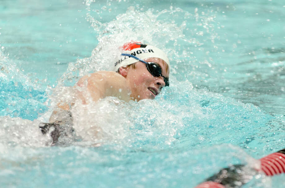 Greenwich's Thomas Dillinger competes in the 500 freestyle event during the Class LL Boys Swimming championship at the Freeman Athletic Center at Wesleyan University in Middletown, CT. on Wednesday, Mar. 19, 2014. Photo: Amy Mortensen / Connecticut Post Freelance
