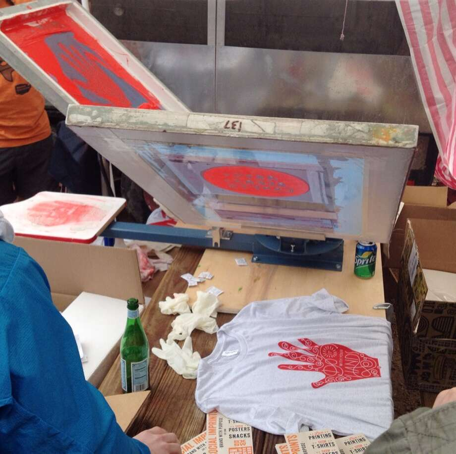 D.I.Y. was on display at Pinterest's barbecue, where attendees could screenprint their own t-shirts.