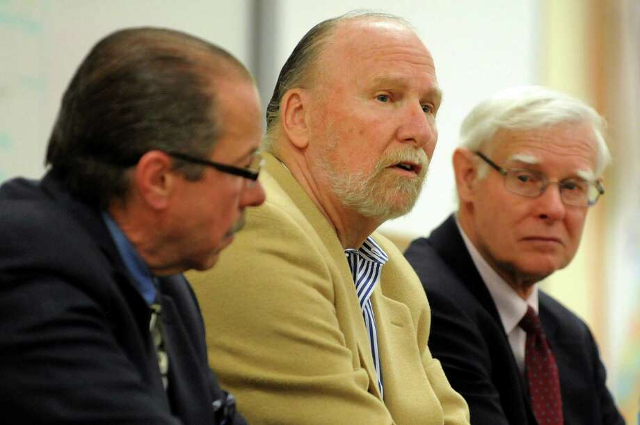 Angel investors Chet Opalka, left, Dick Frederick, center, and Joe Richardson discuss their work with the entrepreneur and marketing classes on Wednesday, March 19, 2014, at LaSalle Institute in Troy, N.Y. (Cindy Schultz / Times Union) Photo: Cindy Schultz / 00026167A
