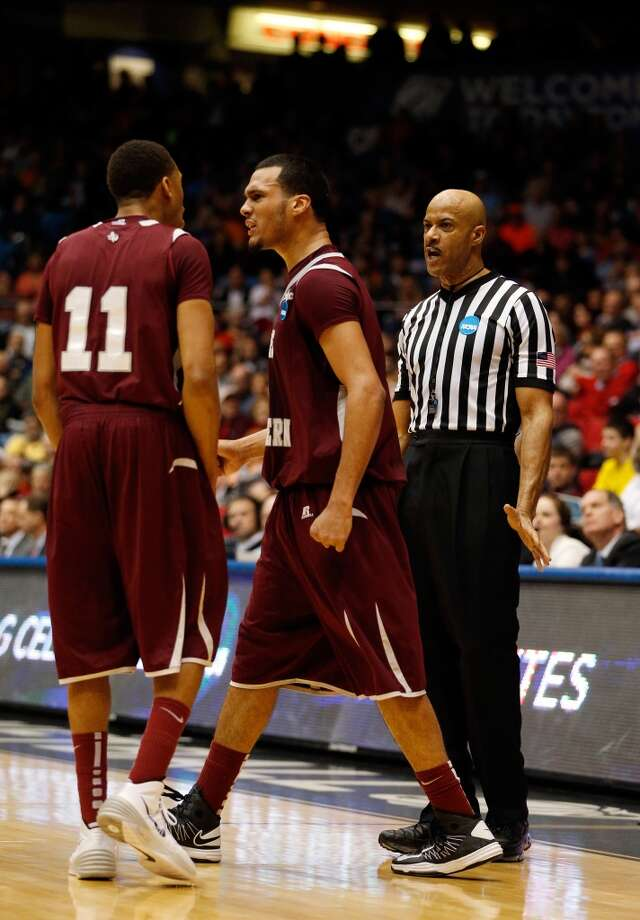 Jose Rodriguez #4 and Lawrence Johnson-Danner #11 of Texas Southern react. Photo: Gregory Shamus, Getty Images