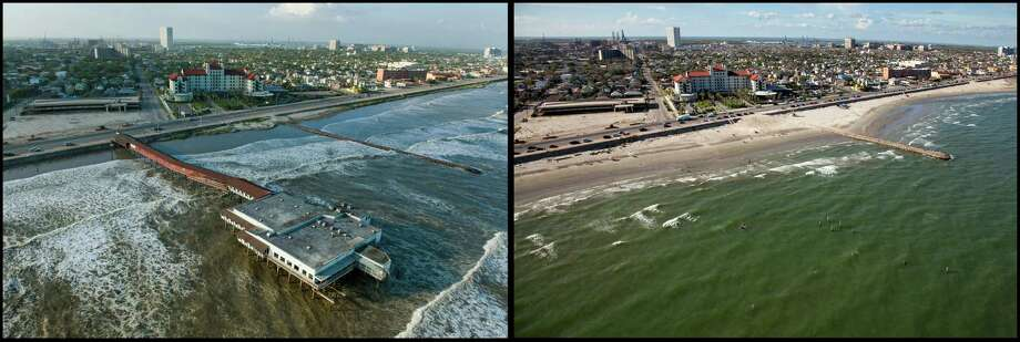 Rising surf laps at the Galveston Seawall as the historic Balinese Room juts 600 feet out over the water as the city prepares for the arrival Hurricane Ike,  Friday, Sept. 12, 2008.  RIGHT PHOTO:  The legendary night club, listed on the National Register of Historic Places, was completely destroyed by the hurricane, leaving only a few piers in the surf as remaining traces across from the street from the Galvez Hotel. Photo: Smiley N. Pool, Houston Chronicle / Houston Chronicle