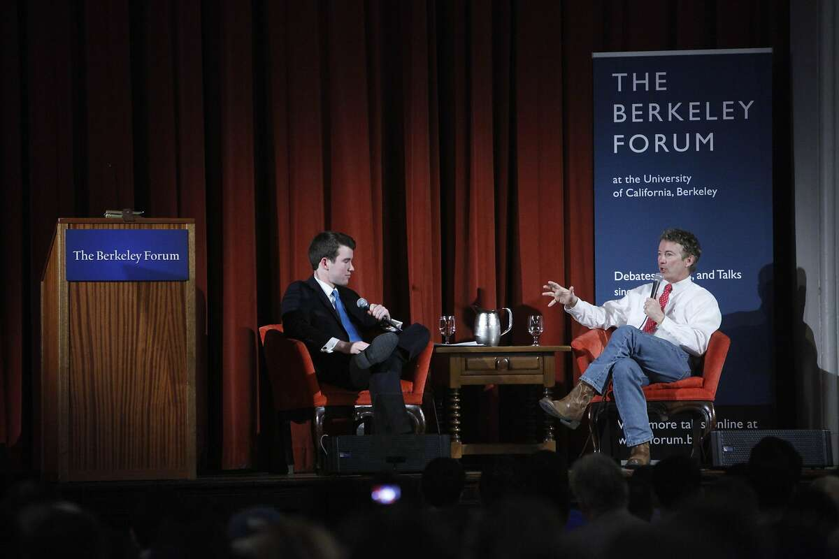 Senator Rand Paul (right) answers a question from moderator Matthew Freeman (left) during the Berkeley Forum at the Chevron Auditorium, International House on Wednesday, March 19, 2014, in Berkeley, Calif.