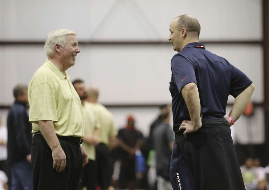 UCF head football coach George O'Leary shares a laugh with Houston Texans head coach Bil O'Brien during pro-day at Nicholson Field House at UCF in Orlando, Fla. Wednesday, March 19, 2014. (Gary W. Green/Orlando Sentinel) Photo: Orlando Sentinel