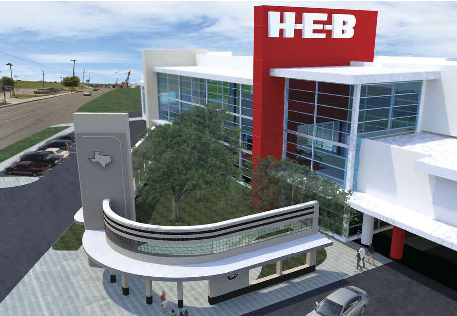 H-E-B plans to include some of the iconic elements of its oldest operating store on Nogalitos Street, including part of its curved glass-block entrance and neon Texas sign, after it's demolished to make room for a new, multilevel market. Photo: Courtesy Illustrations