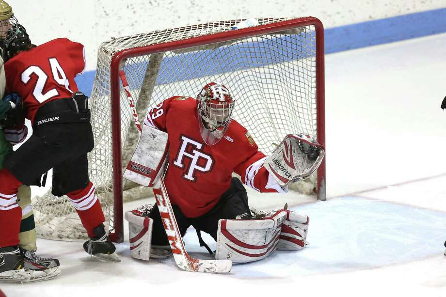 Fairfield Prep's goalie #29 Matt Beck makes a save on goal during Wednesday evening CIAC Division I Semi-Finals against Notre Dame of West Haven. Photo: Mike Ross / Mike Ross Connecticut Post freelance -www.mikerossphoto.com
