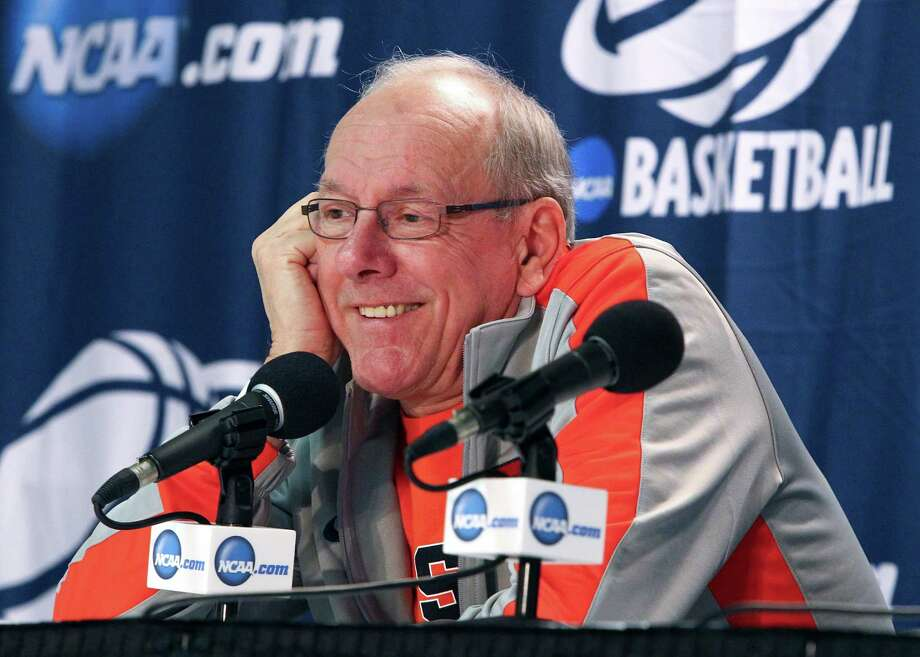 Syracuse head coach Jim Boeheim responds to questions during a news conference before a second round game against Western Michigan in the men's NCAA college basketball tournament Wednesday, March 19, 2014, in Buffalo, N.Y.  (AP Photo/Nick LoVerde) ORG XMIT: NYFF102 Photo: Nick LoVerde / FR1171125 AP