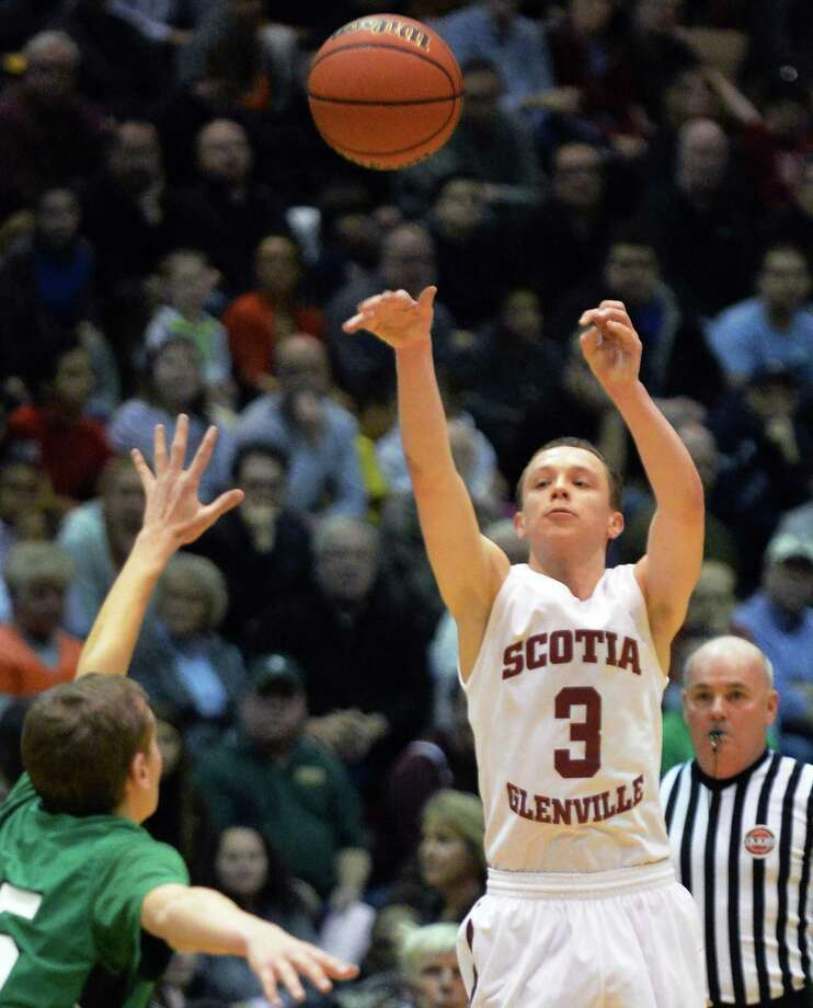 Scotia's #3 Scott Stopera shoots during the Class A boys' regional final against  Bishop Ludden Saturday March 8, 2014, in Troy, NY.  (John Carl D'Annibale / Times Union) Photo: John Carl D'Annibale / 00026032A