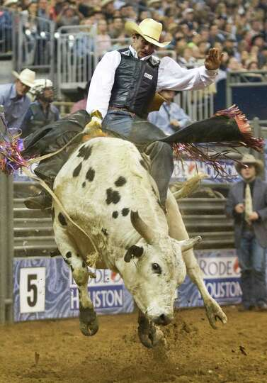 Elliot Jacoby competes in the BP Super Series Semifinal 1 Bull Riding competition during Houston Liv