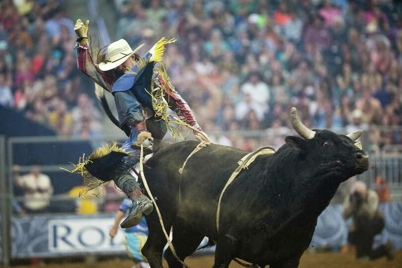 Tyler Smith competes in the BP Super Series Semifinal 1 Bull Riding competition at Reliant Stadium o