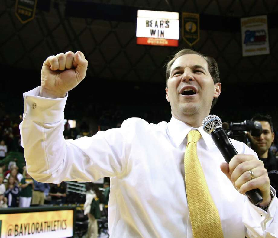 """Coach Scott Drew's Bears found their groove late in the season after a 2-8 start in Big 12 play. """"Our backs were against the wall and we didn't have much margin for error,"""" he said. Photo: Rod Aydelotte / Waco Tribune-Herald / Waco Tribune Herald"""