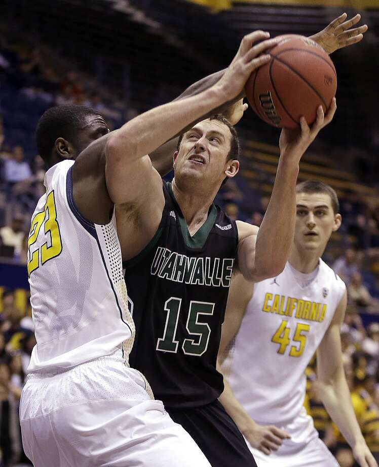 Cal's Jabari Bird defends as Utah Valley's Mitch Bruneel tries to get off a shot in the first half. Photo: Ben Margot, Associated Press