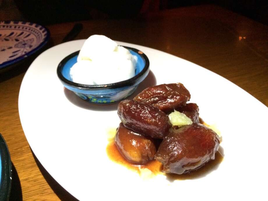 Warm sherry dates with coconut lime ice ($9)