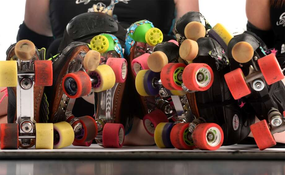 The Spindletop Roller girl's skates. Photo taken Wednesday, March 12, 2014 Guiseppe Barranco/@spotnewsshooter