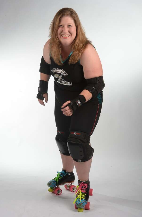 The Spindletop Roller girl's Valerie Breaux. (The Great Valfucious) Photo taken Wednesday, March 12, 2014 Guiseppe Barranco/@spotnewsshooter