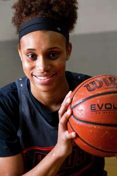 Manvel High School basketball player Brianna Turner poses for a portrait before practice on Tuesday, Feb. 25, 2014, in Manvel. Turner leads Manvel into the Class 5A state semifinals against Plano West on Saturday in Austin. Photo: Brett Coomer, Houston Chronicle / © 2014 Houston Chronicle