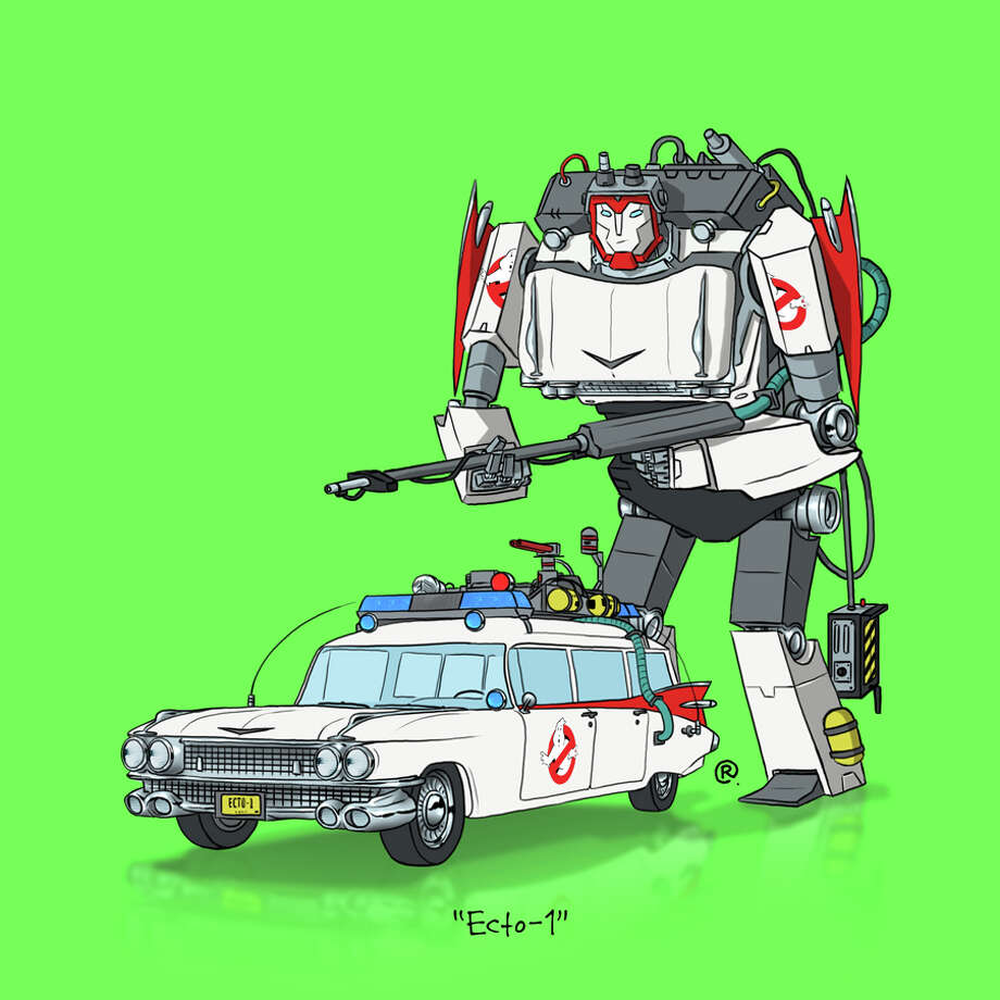 """""""Ghostbusters"""" Ecto-1: Canadian graphic designer Darren """"Rawlsy"""" Rawlings of Thinkmore Studios has given the Transformers treatment to pop culture's most beloved cars. Check out more of his work, including additional pop culture mash-ups, on his Rawls blog. Photo: Darren Rawlings, Thinkmore Studios"""