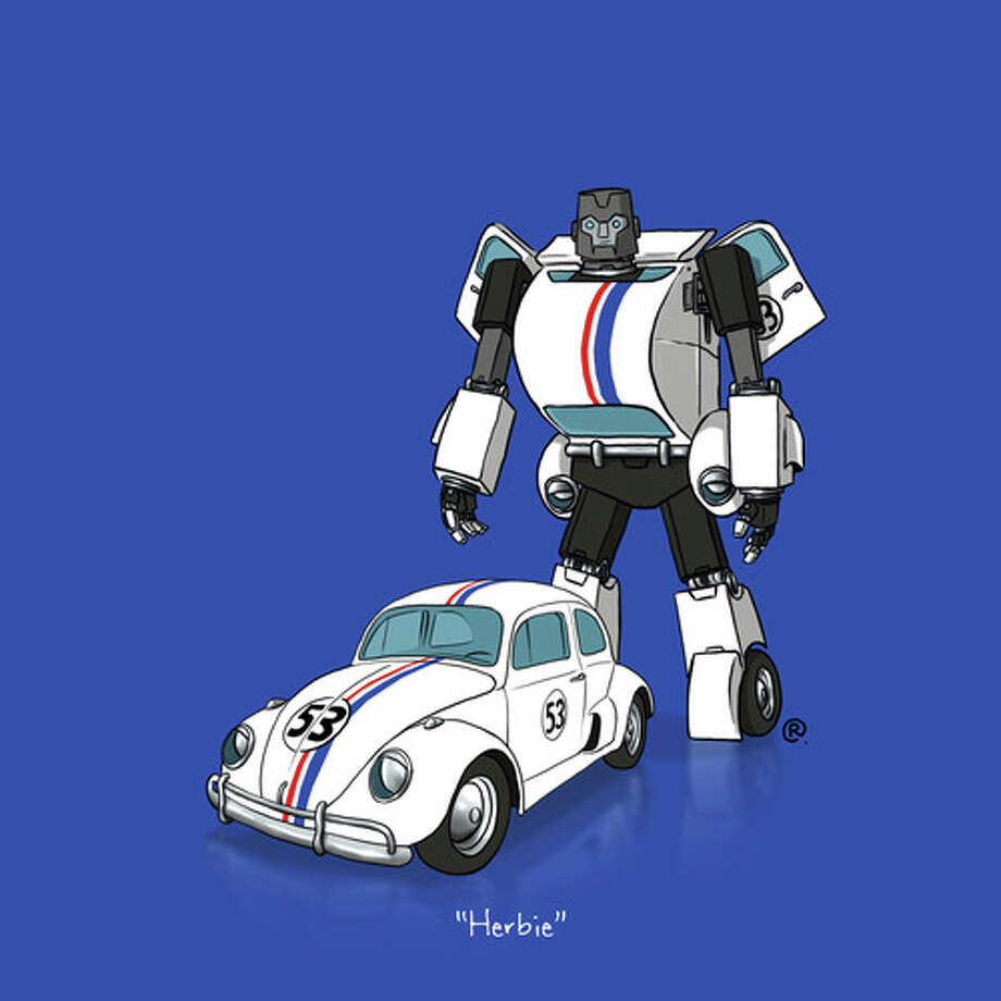 "Herbie the Love Bug: Canadian graphic designer Darren ""Rawlsy"" Rawlings of Thinkmore Studios has given the Transformers treatment to pop culture's most beloved cars. Check out more of his work, including additional pop culture mash-ups, on his Rawls blog. Photo: Darren Rawlings, Thinkmore Studios"