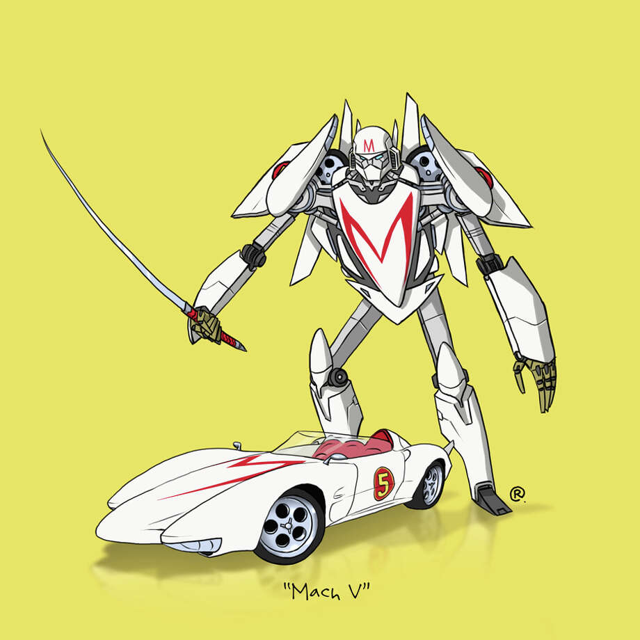 """Speed Racer's"" Mach V: Canadian graphic designer Darren ""Rawlsy"" Rawlings of Thinkmore Studios has given the Transformers treatment to pop culture's most beloved cars. Check out more of his work, including additional pop culture mash-ups, on his Rawls blog. Photo: Darren Rawlings, Thinkmore Studios"