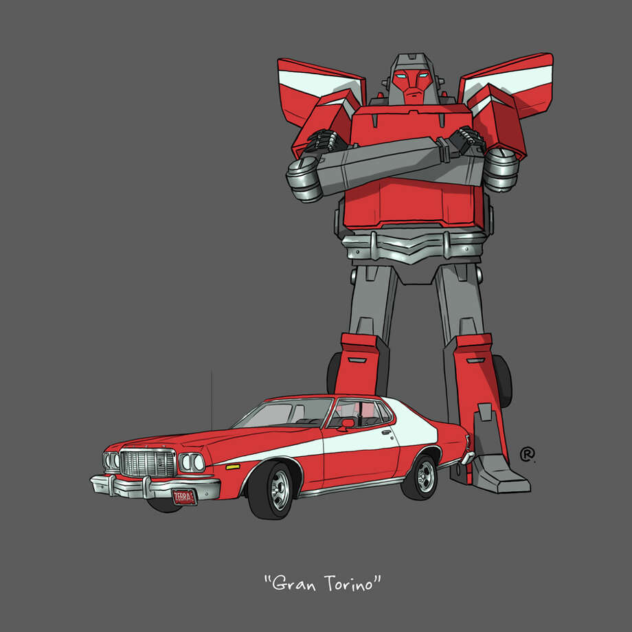 "The ""Starsky & Hutch"" Gran Torino: Canadian graphic designer Darren ""Rawlsy"" Rawlings of Thinkmore Studios has given the Transformers treatment to pop culture's most beloved cars. Check out more of his work, including additional pop culture mash-ups, on his Rawls blog. Photo: Darren Rawlings, Thinkmore Studios"