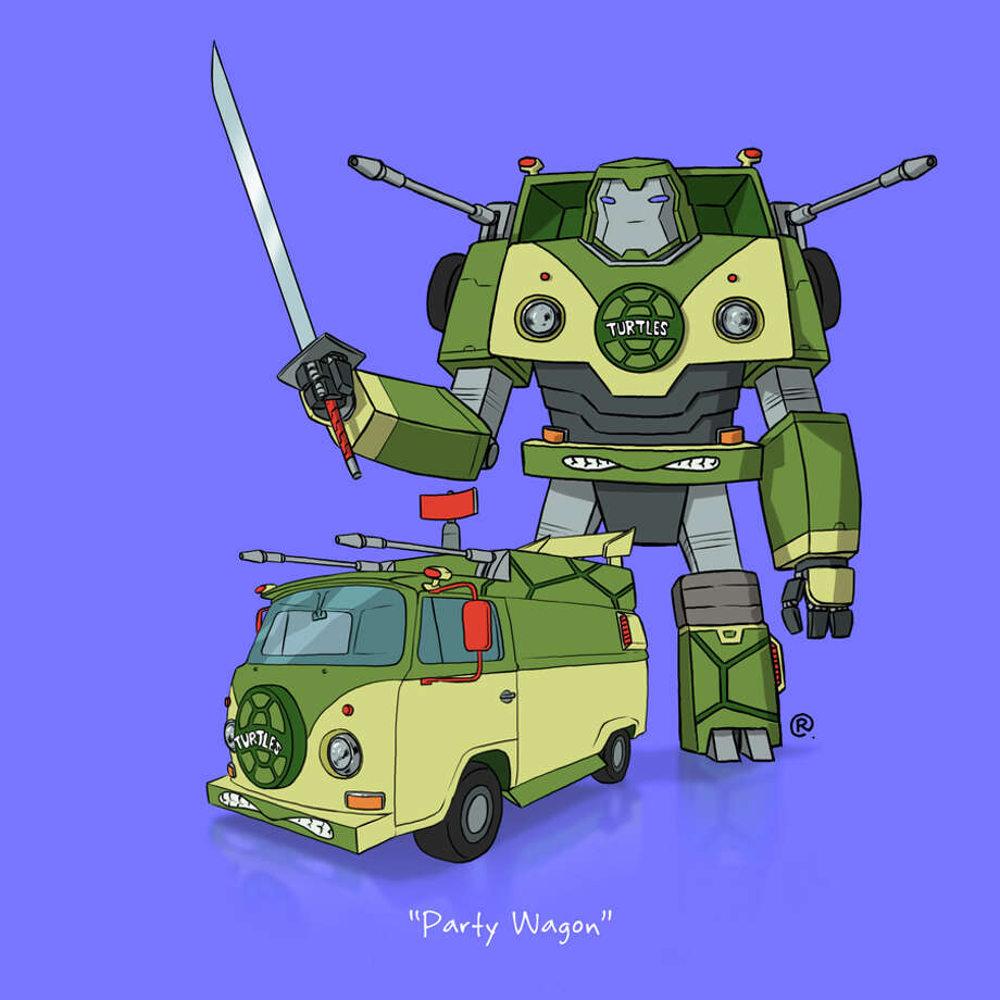 """The """"Teenage Mutant Ninja Turtles"""" Party Bus: Canadian graphic designer Darren """"Rawlsy"""" Rawlings of Thinkmore Studios has given the Transformers treatment to pop culture's most beloved cars. Check out more of his work, including additional pop culture mash-ups, on his Rawls blog. Photo: Darren Rawlings, Thinkmore Studios"""