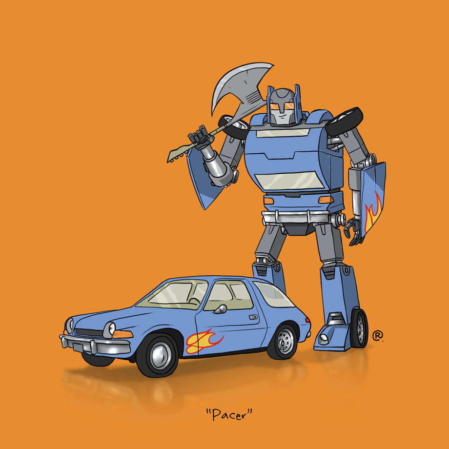 "The ""Wayne's World"" AMC Pacer: Canadian graphic designer Darren ""Rawlsy"" Rawlings of Thinkmore Studios has given the Transformers treatment to pop culture's most beloved cars. Check out more of his work, including additional pop culture mash-ups, on his Rawls blog. Photo: Darren Rawlings, Thinkmore Studios"