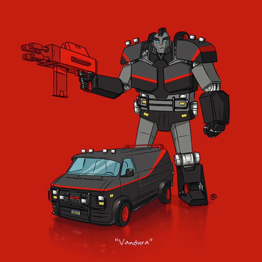 "The A-Team's VanduraCanadian graphic designer Darren ""Rawlsy"" Rawlings of Thinkmore Studios has given the Transformers treatment to pop culture's most beloved cars. Check out more of his work, including additional pop culture mash-ups, on his Rawls blog. Photo: Darren Rawlings, Thinkmore Studios"