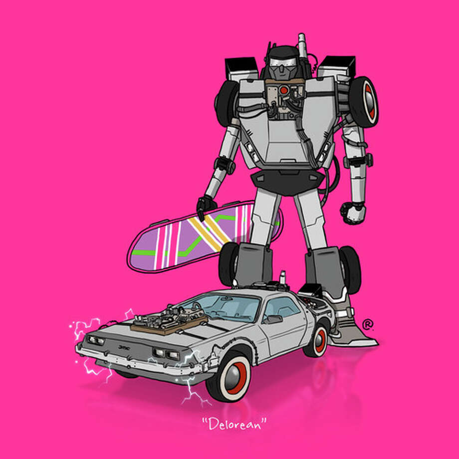 "The Back to the Future DeloreanCanadian graphic designer Darren ""Rawlsy"" Rawlings of Thinkmore Studios has given the Transformers treatment to pop culture's most beloved cars. Check out more of his work, including additional pop culture mash-ups, on his Rawls blog. Photo: Darren Rawlings, Thinkmore Studios"
