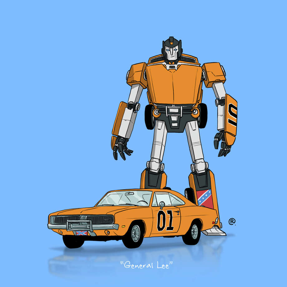 "The Dukes of Hazzard General LeeCanadian graphic designer Darren ""Rawlsy"" Rawlings of Thinkmore Studios has given the Transformers treatment to pop culture's most beloved cars. Check out more of his work, including additional pop culture mash-ups, on his Rawls blog. Photo: Darren Rawlings, Thinkmore Studios"