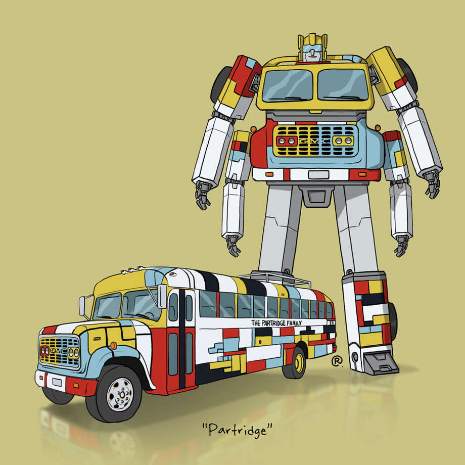 """The Partiridge Family BusCanadian graphic designer Darren """"Rawlsy"""" Rawlings of Thinkmore Studios has given the Transformers treatment to pop culture's most beloved cars. Check out more of his work, including additional pop culture mash-ups, on his Rawls blog. Photo: Darren Rawlings, Thinkmore Studios"""