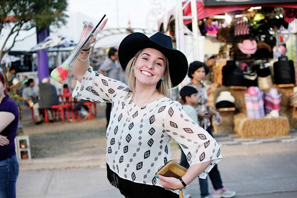 This black-and-white ensemble was spotted at RodeoHouston 2014.