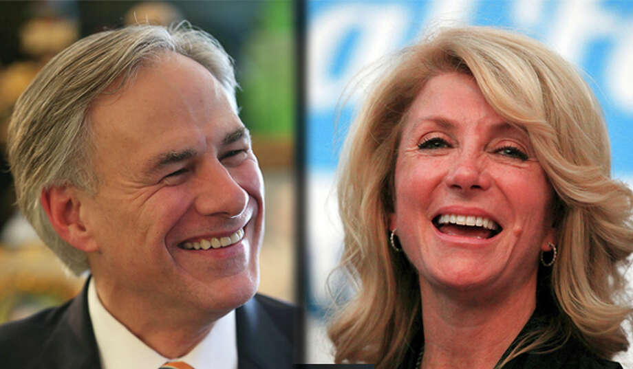 File photos of Greg Abbott and Wendy Davis merged.